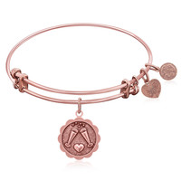 Expandable Bangle in Pink Tone Brass with Cheers To Your Health Symbol