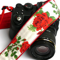 Roses Camera Strap. dSLR Camera Strap. Canon Camera Strap. Women Accessories.