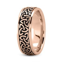 Wedding Band - Celtic Mens Ring with Black Rhodium in Rose Gold