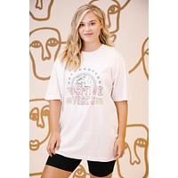 Positive Vibes Oversized Graphic Tee, White