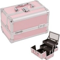 JustCase M1001 Cosmetic Makeup Train Case with Mirror and Easy Clean Extendable Trays in Pink Smooth