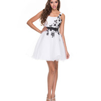 White & Black Floral Embroidered Tulle One Shoulder Dress 2015 Homecoming Dresses