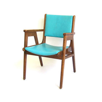 Vintage Armchair Blue Turquoise Vinyl Walnut Wood Frame Lounge Office Fireside Chair Danish Retro Mid Century Modern Atomic Eames Furniture