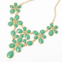 Fashion Golden Chain Water Drop Green Resin Beads Bubble Crotch Pendant Statement Bib Necklace