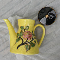 SALE-15% OFF Limoges ceramic tea / coffee pot, Yellow Limoges jug, French home decor, French kitchen, French country home cottage chic vinta