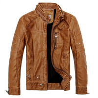 Men's Stand Collar Comfortable Soft Faux Leather Motorcycle Jacket