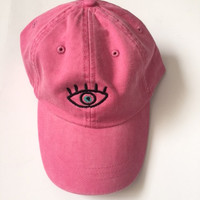 third eye lucky eye evil eye hipster eye baseball cap in washed out pink instagram tumblr pinterest