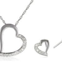 Sterling Silver Diamond Heart Pendant Necklace and Earrings Jewelry Set  (1/5 cttw)