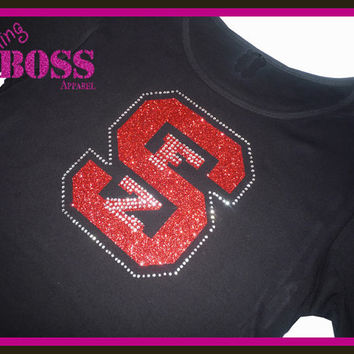 School Bling Shirt Team Glitter Rhinestone Tee Spirit Wear Sparkle Girls Custom Design own Colors Sports Team Name  Personalized Glitter
