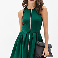 Zippered Contrast-Trim Dress