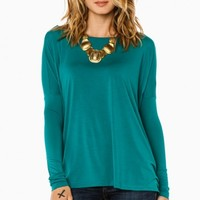 COZY LONG SLEEVE TOP IN TEAL BY PIKO
