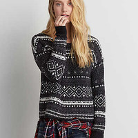AEO Patterned Crew Sweater, Black