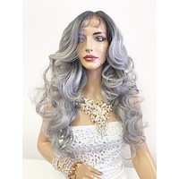"Gray Silver Ombré SWISS Lace Front Wig 22"" with 360' multi parting 619"