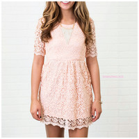 Beauty & Grace Peach Floral Lace Overlay Dress