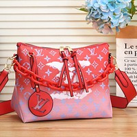 Onewel LV Louis Vuitton Gradient Color monogram  Crossbody Bag LV Letters Print Chain Bag Shopping Bag Red