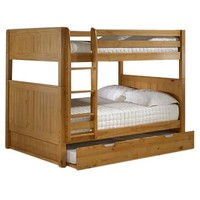 Solid Wood Full over Full Bunk Bed with Twin size Trundle Bed in Natural
