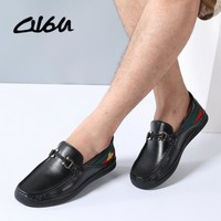 O16U Fashion Men Driver Loafers Casual Shoes Cow Leather Slip on Male Moccasins Rubber Gold Embroidered Bee Loafers Designer