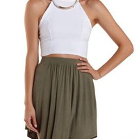 White Strappy Halter Crop Top by Charlotte Russe