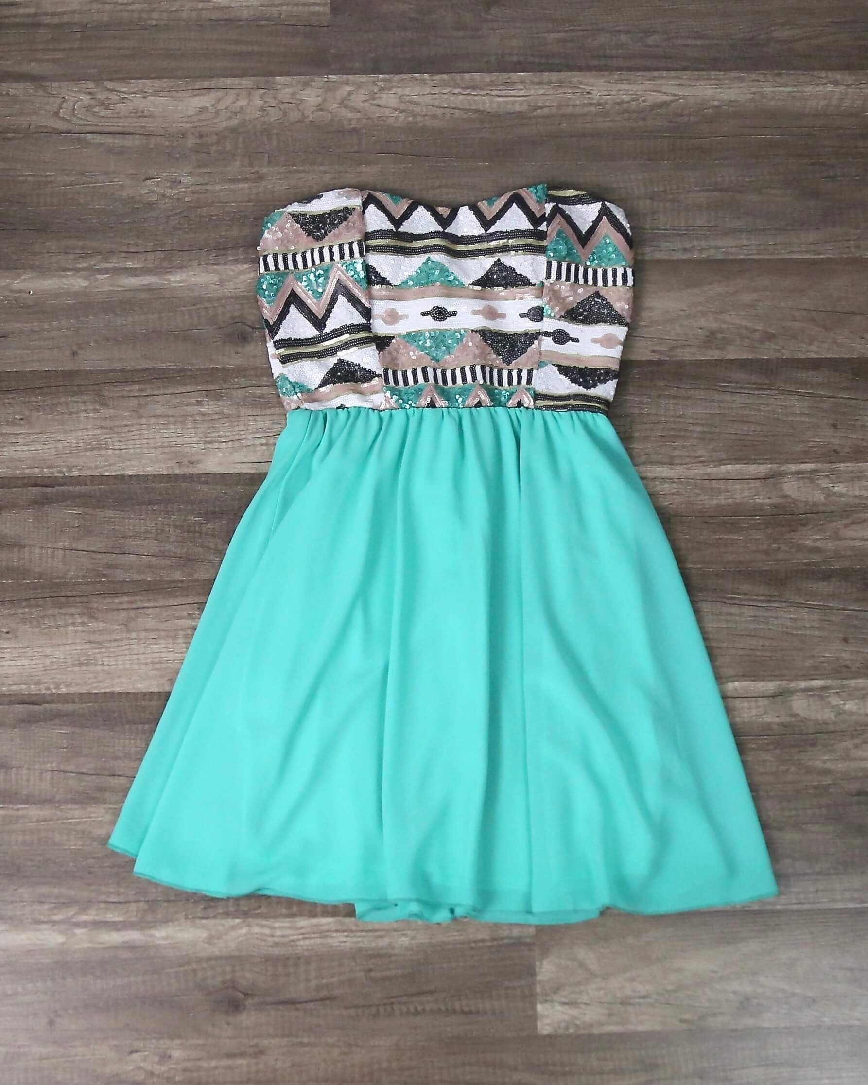 Image of Aztec Sequin Strapless Sweetheart Dress in Turquoise