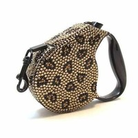 Crystal Retractable Dog Leash - Leopard