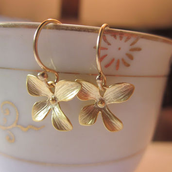 Gold Orchid Earrings Flower Jewelry - Bridesmaid Earrings - Bridal Earrings - Valentines Day Gift - Gift under 20