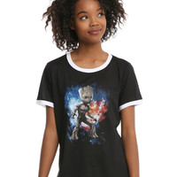Marvel Guardians Of The Galaxy Baby Groot Girls Ringer T-Shirt