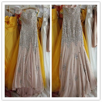 Dusty pink chiffon sexy sweetheart heavy beaded Crystals sequin pearls slip long evening prom dress court train formal evening gown PM009