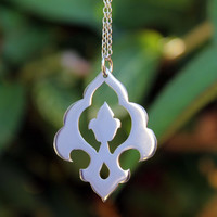 Beautiful sterling silver Moroccan style pendant and silver chain, hand made pendant-made to order