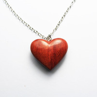 Wood heart necklace, heart shape necklace,Wood Jewerly,cute necklace