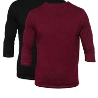 ASOS 3/4Sleeve T-Shirt With Crew Neck 2 Pack Save 12.5% - Black/oxbloo