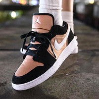 Nike Air Jordan 1 Fashion Women Casual Sport Running Shoes Sneakers Black&Pink