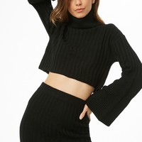 Ribbed Turtleneck Sweater & Mini Skirt Set