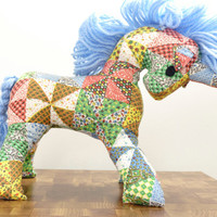 Vintage Unicorn Toy Patchwork Stuffed Animal