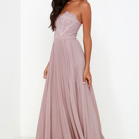 Bariano Come Quick Cupid Taupe Strapless Lace Maxi Dress