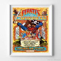 Vintage Disneyland Print Caribbean Plaza Poster Disney Wall Art Decor UNFRAMED by Inkist Prints