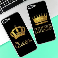Cool For iPhone 4 4S 5 5S SE 5C 6 6S 7 X 8 Plus King Queen Phone case coque Back coverAT_93_12
