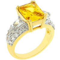 Yellow Cubic Zirconia Fashion Ring, size : 05