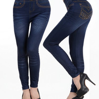 Women's Sexy Close-fitting Love and Hate Rock Style Faux Jean Leggings Tight Pants (Color Red/Green/Blue) (Size: M, Color: Dark blue) = 1930247172