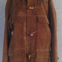 Vintage 70's leather coat jacket for women ( large/ Xlarge)  men's small Urban Cowboy long toggle front hooded brown suede four pocket front