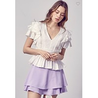 Apparel- Curtis Fitted Waist Ruffle Blouse White