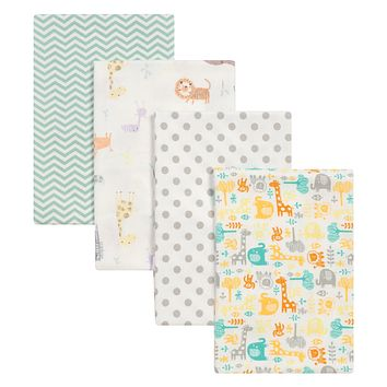 Baby Boy Blankets - Mint Jungle 4 Pack Flannel Baby Blankets