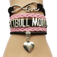 Drop Shipping Infinity Love Pit Bull Mom Bracelet- Heart Charm Dog or Cat Puppy Bracelet Friend Gift