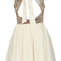 Wedding Glitters Dress | Ivory Gold Sequin Open Back Dresses | RicketyRack.com