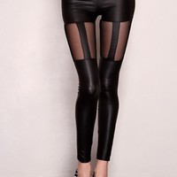 Black Faux Leather Mesh Detail Stretchy Fit Legging Pants @ Amiclubwear Pants Online Store: sexy pants,sexy club wear,women's leather pants, hot pants,tight pants,sweat pants,white pants,black pants,baggy pants,smarty pants,plastic pants,women's jeans,pla