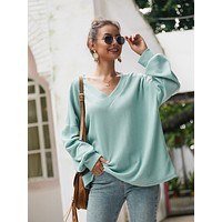 Solid V-neck Drop Shoulder Top