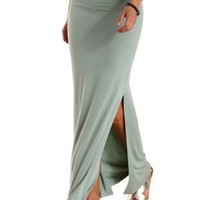 Olive Double Slit Maxi Skirt by Charlotte Russe