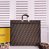2022 FENDI women's CLOTH AND LEATHER handbag shopping bag large tote coffee md 41 cm