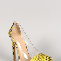 Snakeskin Leatherette Pointy Toe Stiletto Pump Color: Yellow Snake, Size: 9