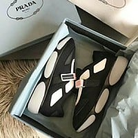 PRADA Fashion Women Casual Breathable Sport Shoes Sneakers(2-Color) Black I-XIMIN-WMNX