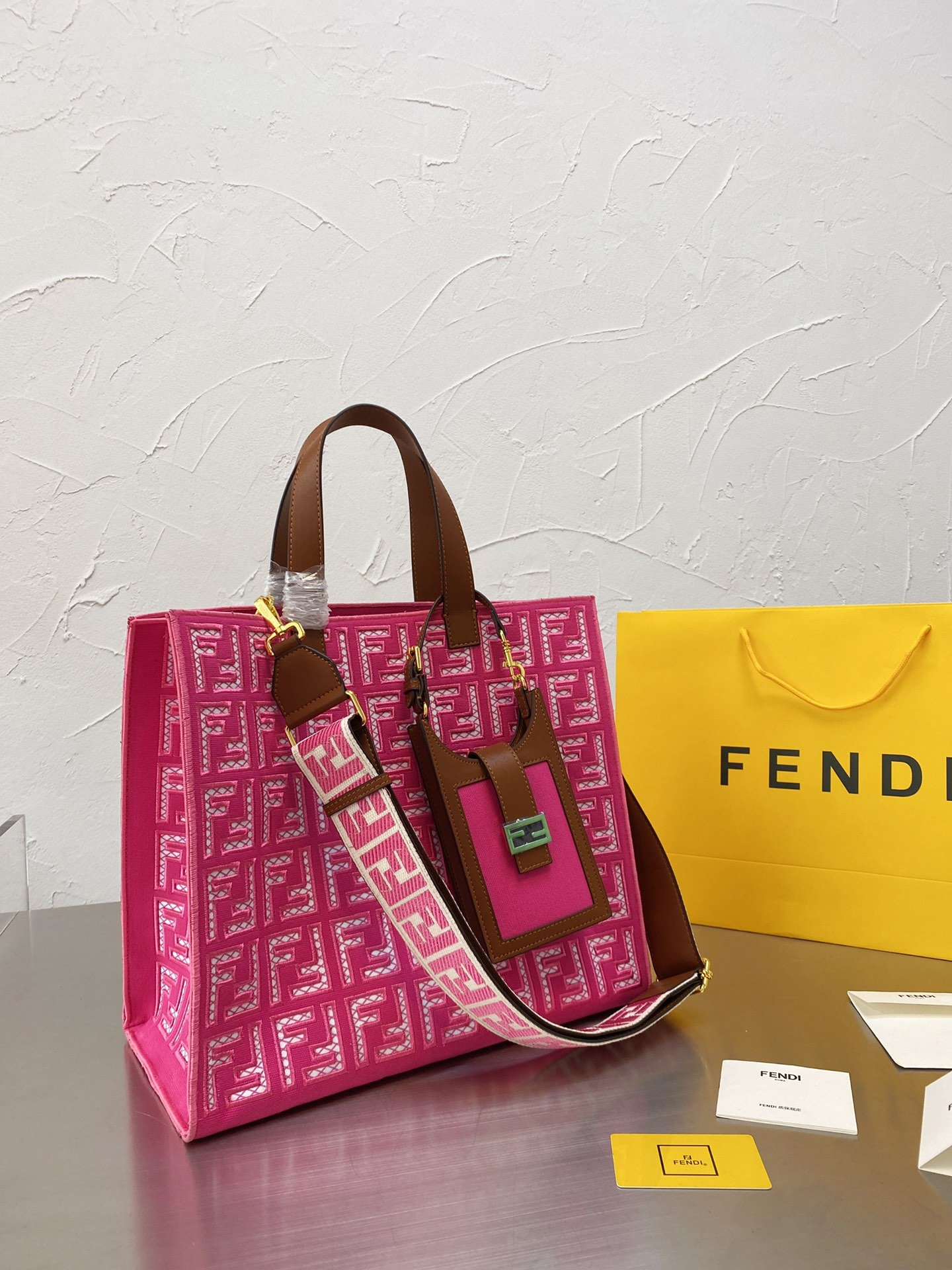 Image of Fendi 2021 Women Leather Shoulder Bags Embroidery Satchel Tote
